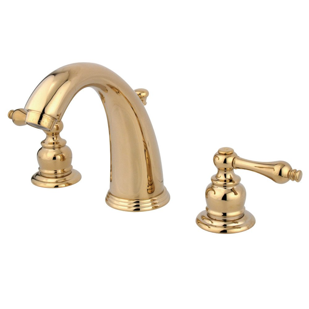 Victorian Polished Brass Widespread Bathroom Faucet: Kingston Brass GKB982AL Water Saving Victorian Widespread Lavatory Faucet, Polished Brass