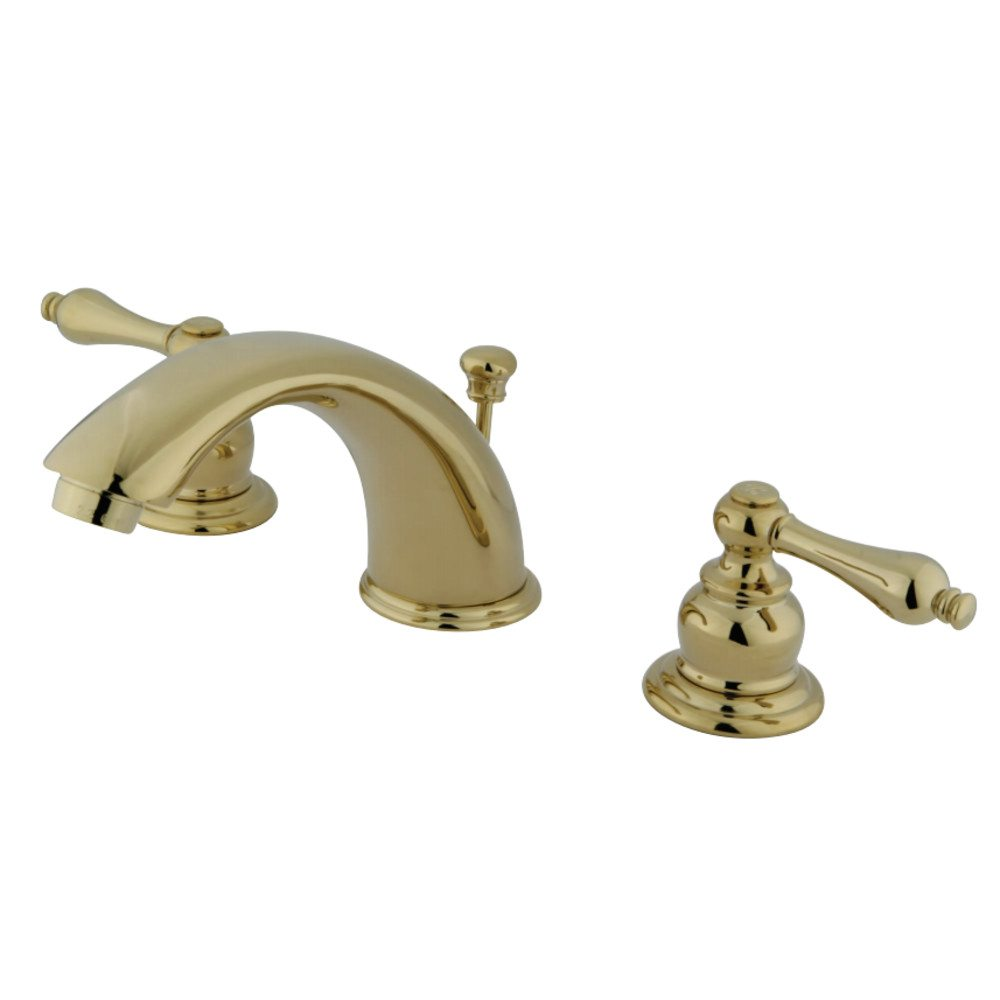 Victorian Polished Brass Widespread Bathroom Faucet: Kingston Brass KB972AL Victorian Widespread Lavatory Faucet With Retail Pop-Up, Polished Brass