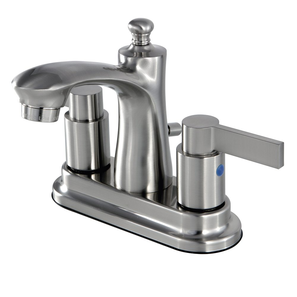 Kingston brass fb7628ndl 4 inch centerset lavatory faucet brushed nickel kingston brass for Bathroom sink faucets 4 inch centerset