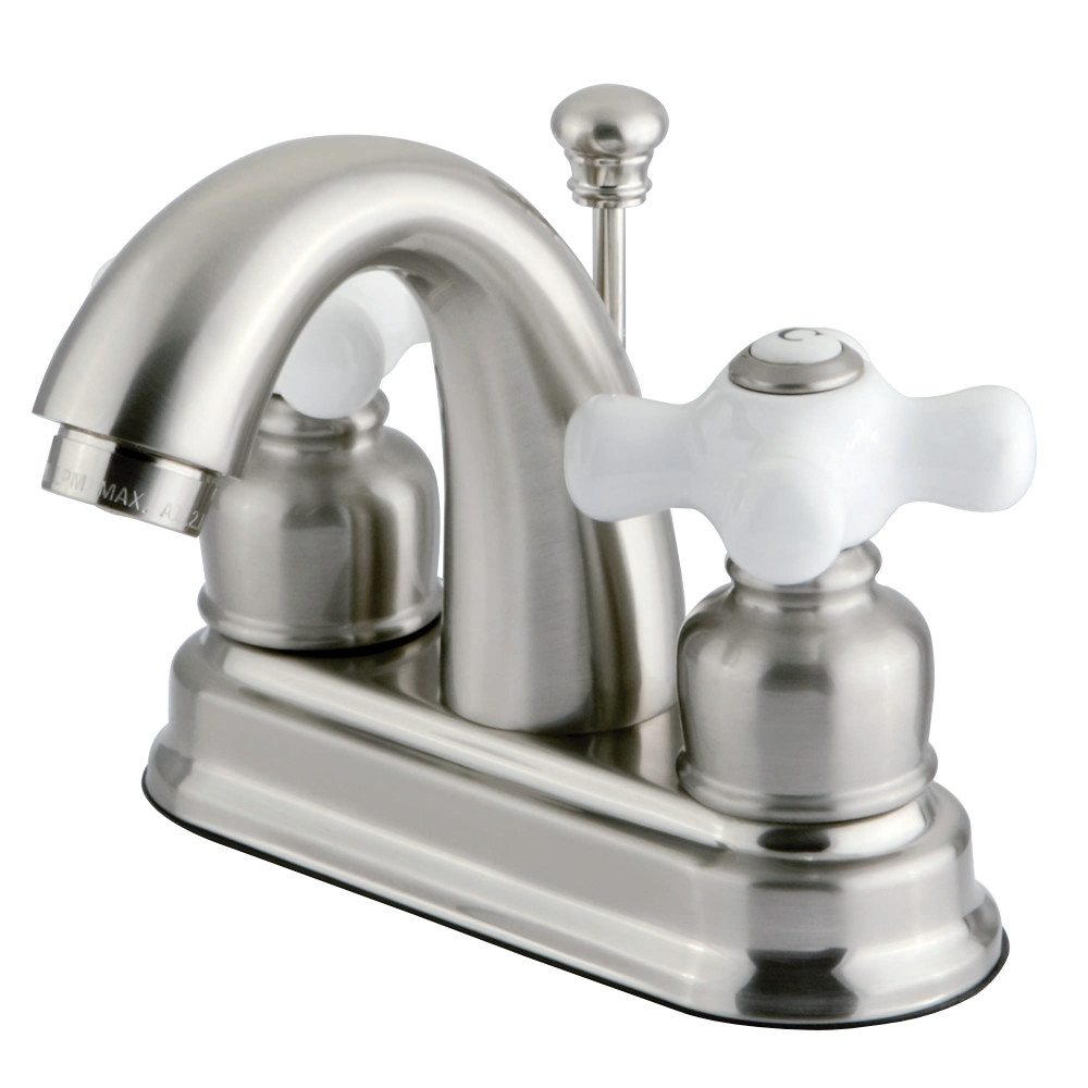Kingston Brass Gkb5618px Water Saving Restoration Centerset Lavatory Faucet With Porcelain Cross