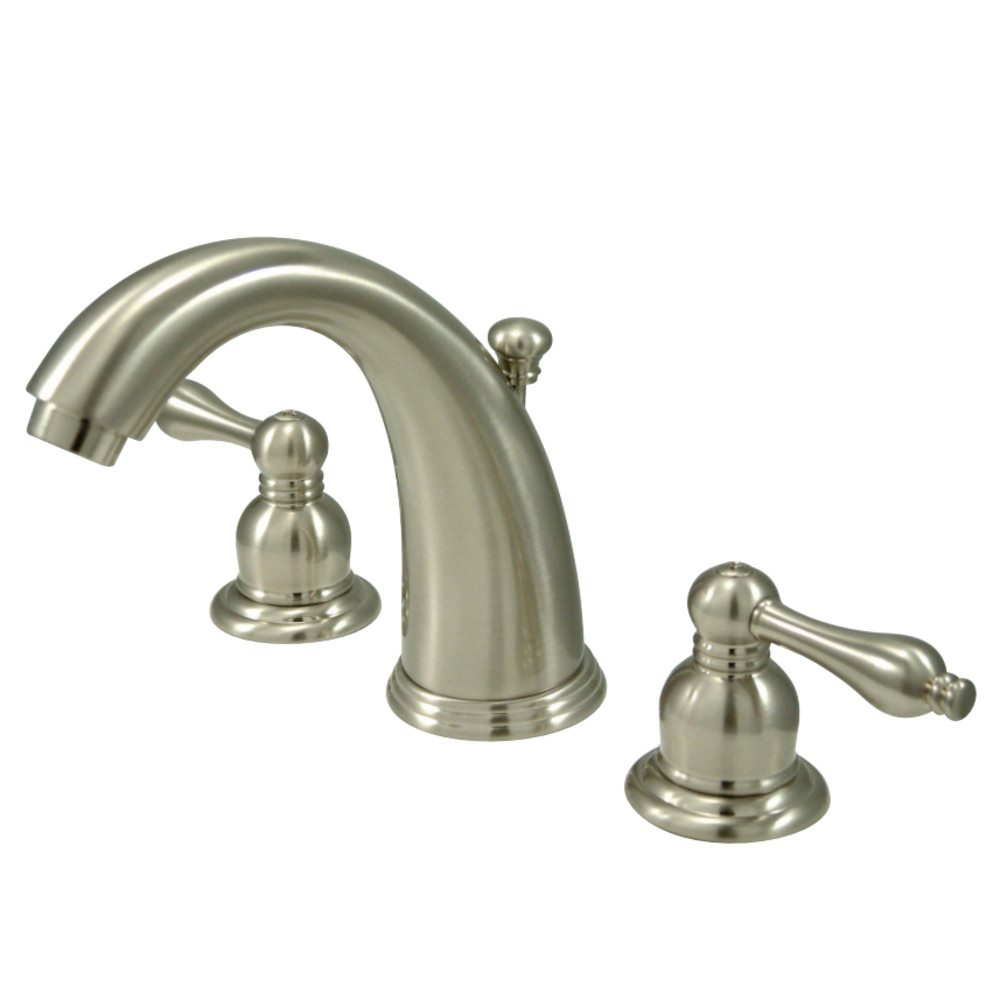 Victorian Polished Brass Widespread Bathroom Faucet: Kingston Brass KB988AL Victorian Widespread Lavatory Faucet With Retail Pop-Up, Brushed Nickel