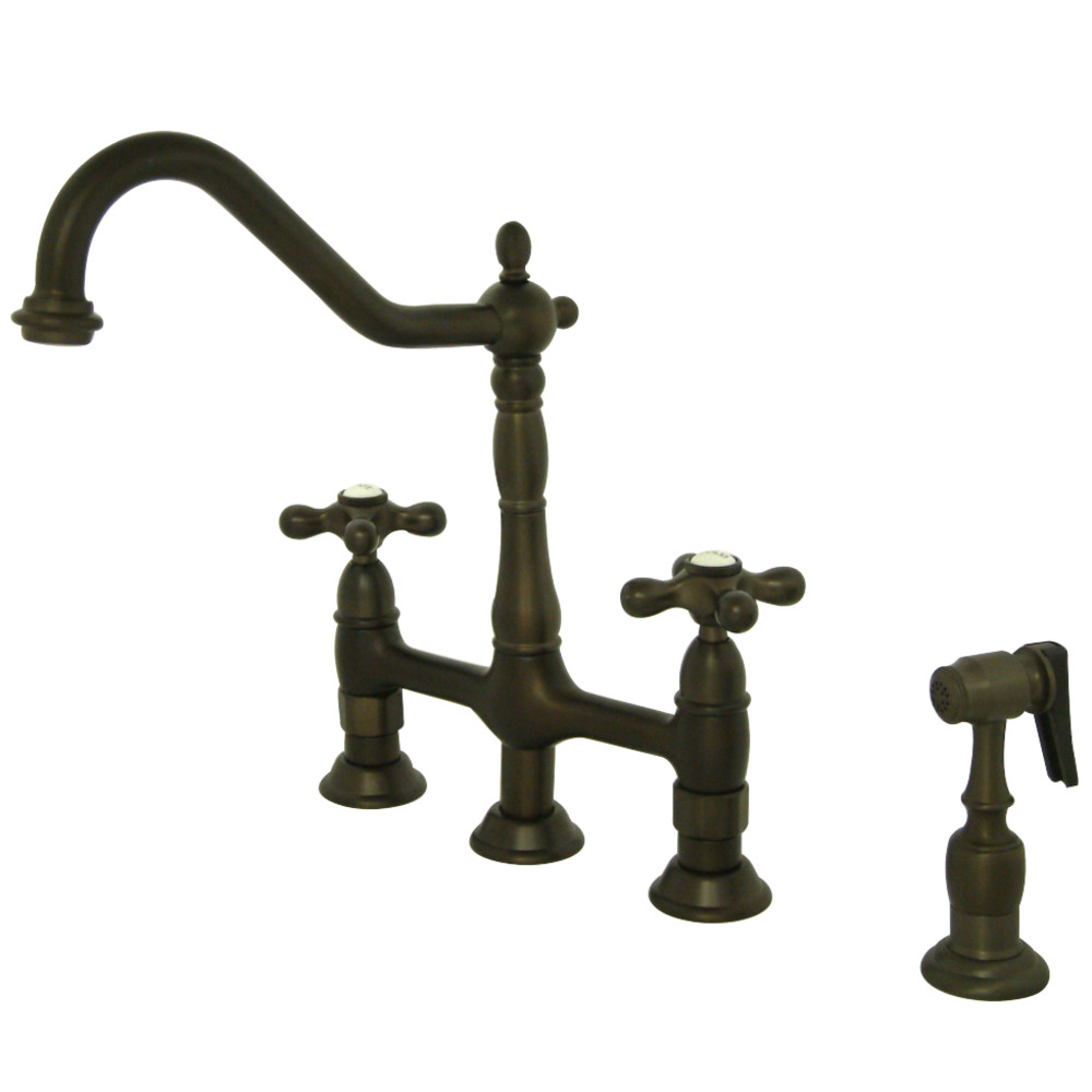 Kingston Brass KS1275AXBS Heritage Kitchen Bridge Faucet with Brass ...
