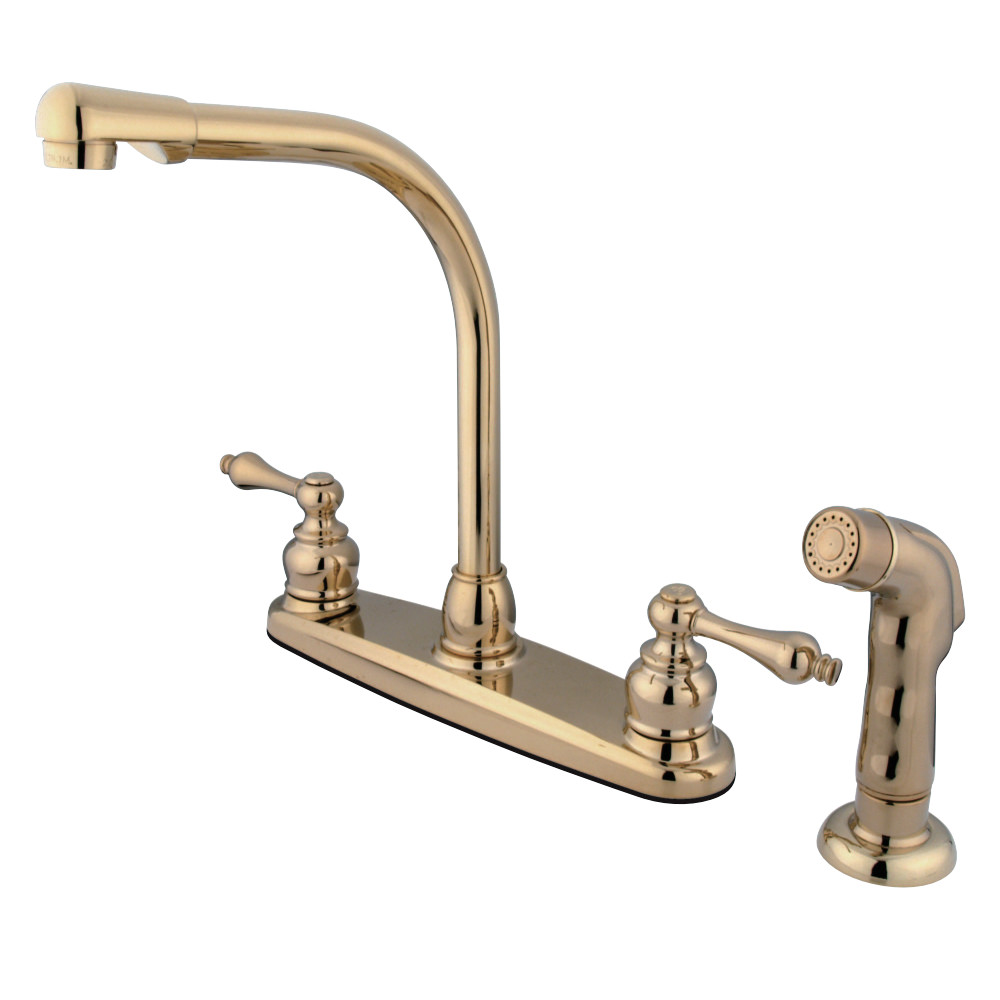 Kingston Brass Gkb712alsp Water Saving Victorian High Arch Kitchen Faucet With Sprayer Polished