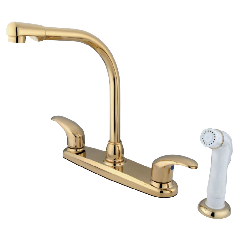 Kingston Brass Gkb712ll Water Saving Legacy Centerset High Arch Spout Kitchen Faucet With White