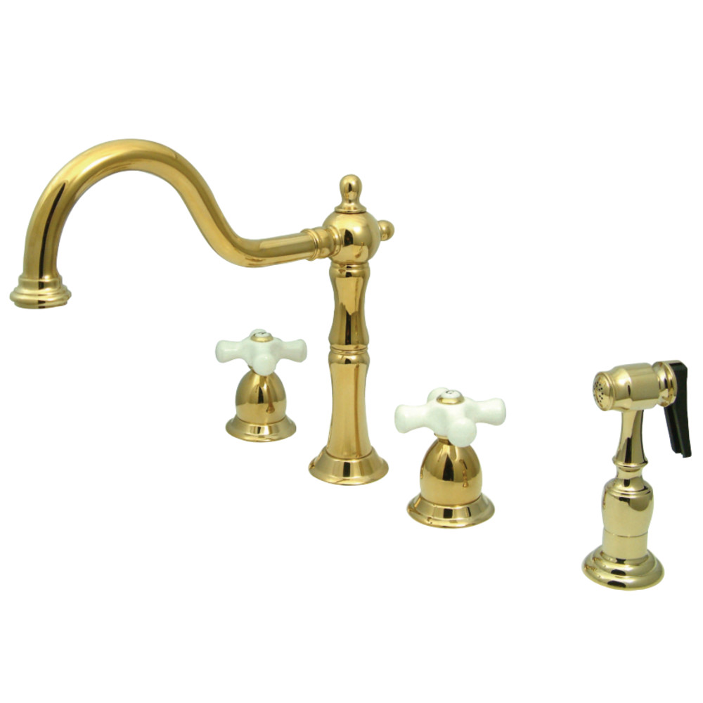 Kingston Brass Kb1792pxbs Heritage Widespread Kitchen Faucet With Brass Sprayer Polished Brass