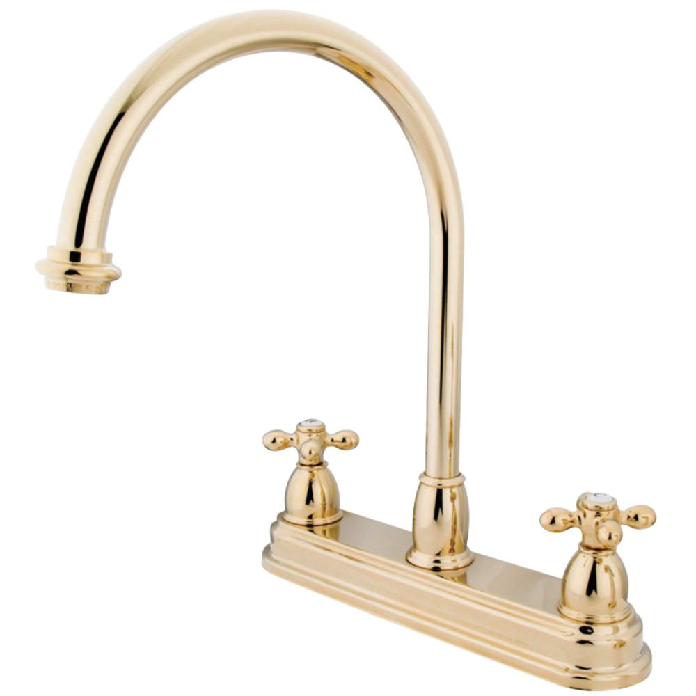 Kingston Brass Kb3742ax Restoration 8 Centerset Kitchen Faucet Without Sprayer Polished Brass