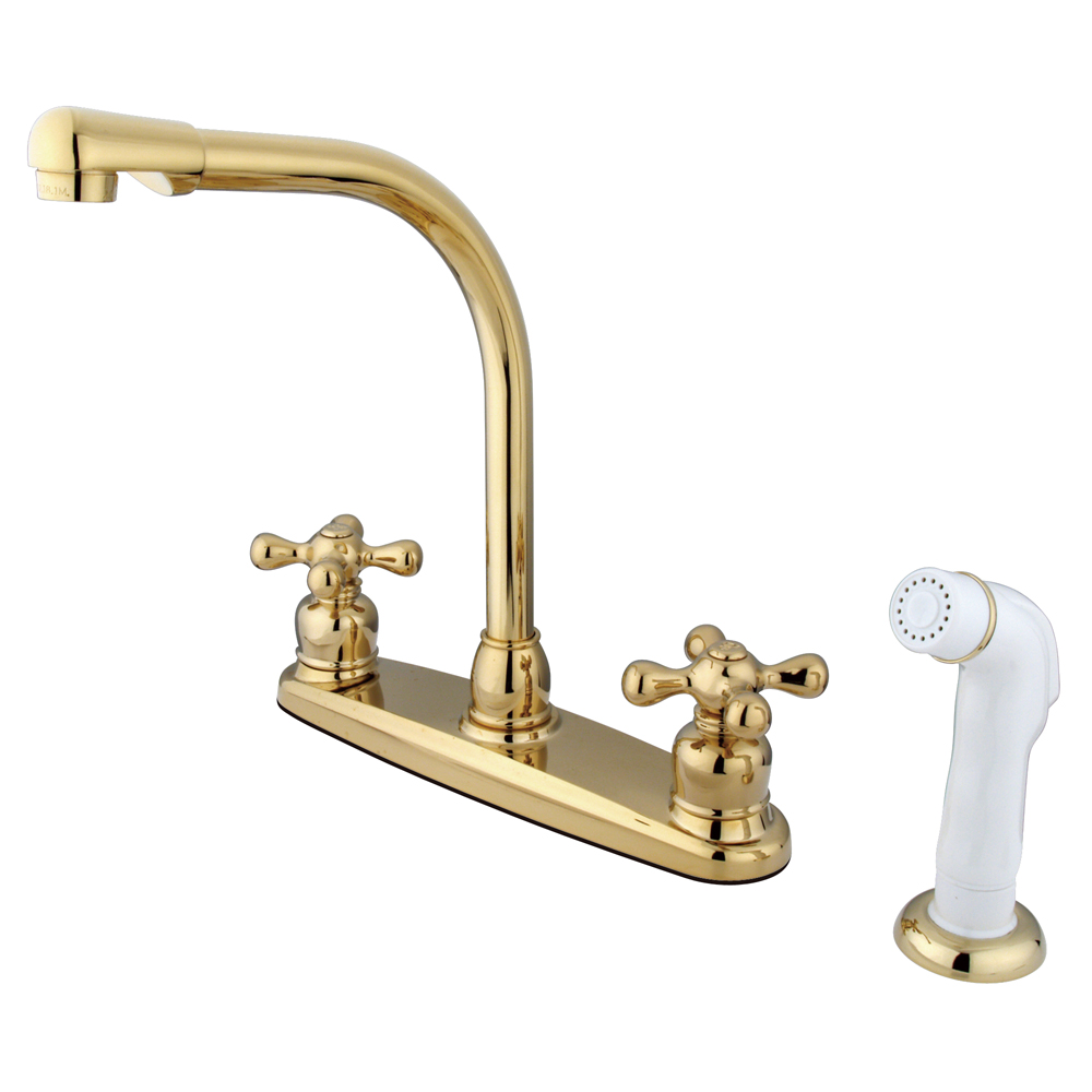 Kingston Brass Kb712ax Victorian High Arch Kitchen Faucet With White Sprayer Polished Brass