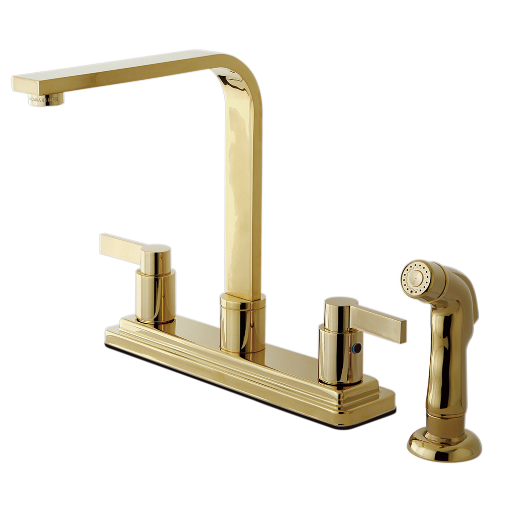 Kingston Brass Kb8792ndlsp Nuvofusion Kitchen Faucet With Sprayer Polished Brass Kingston Brass