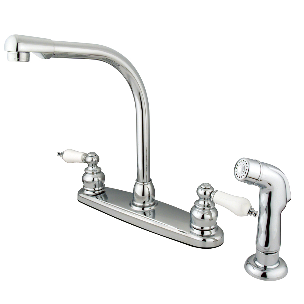 Kingston Brass Kb711sp Victorian High Arch Kitchen Faucet With Matching Sprayer Chrome