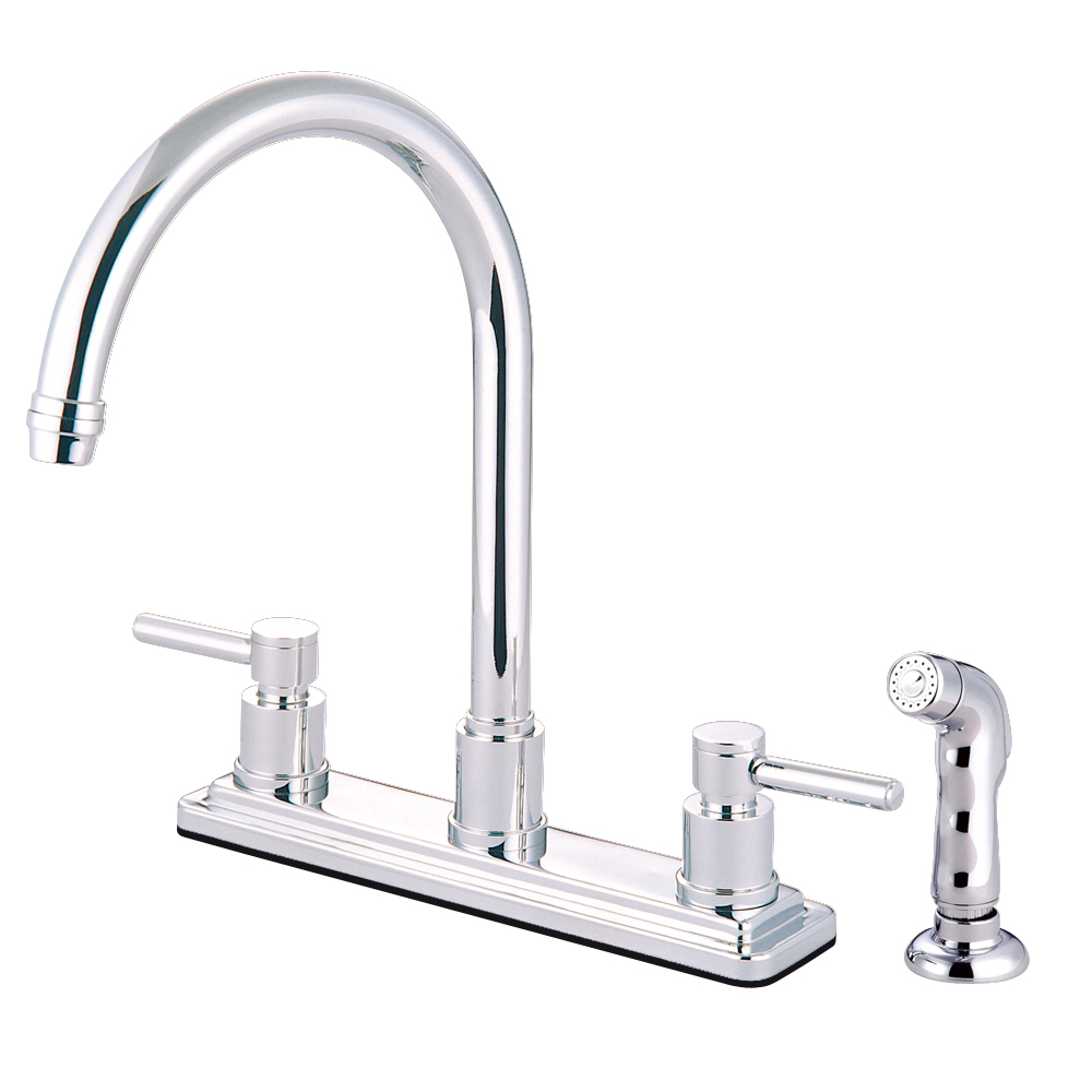 Kingston Brass Ks8791dl Concord 8 Centerset Kitchen Faucet With Sprayer Polished Chrome