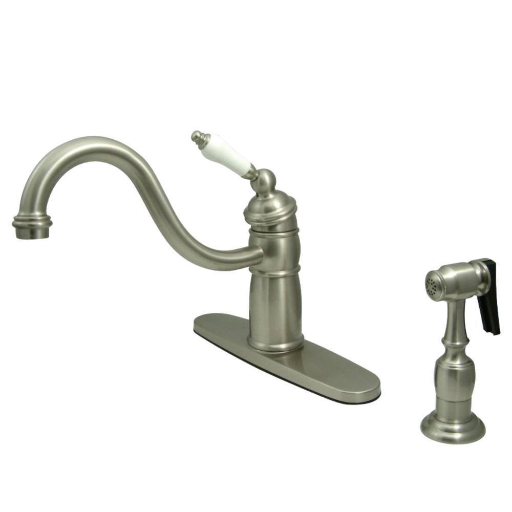 Kingston Brass KB1578PLBS Victorian Mono Block Kitchen Faucet with ...