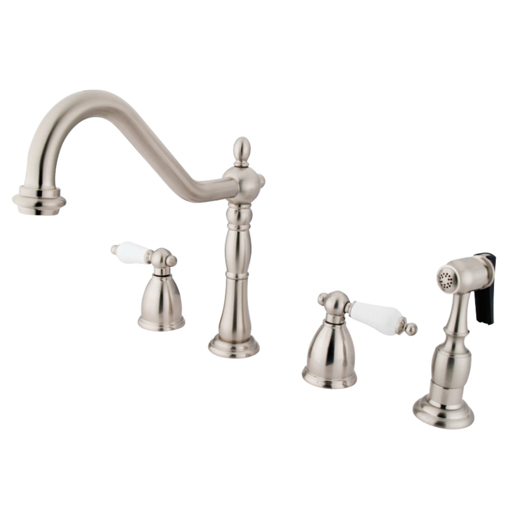 kingston brass kb1798plbs heritage widespread kitchen faucet with brass sprayer brushed nickel. Black Bedroom Furniture Sets. Home Design Ideas