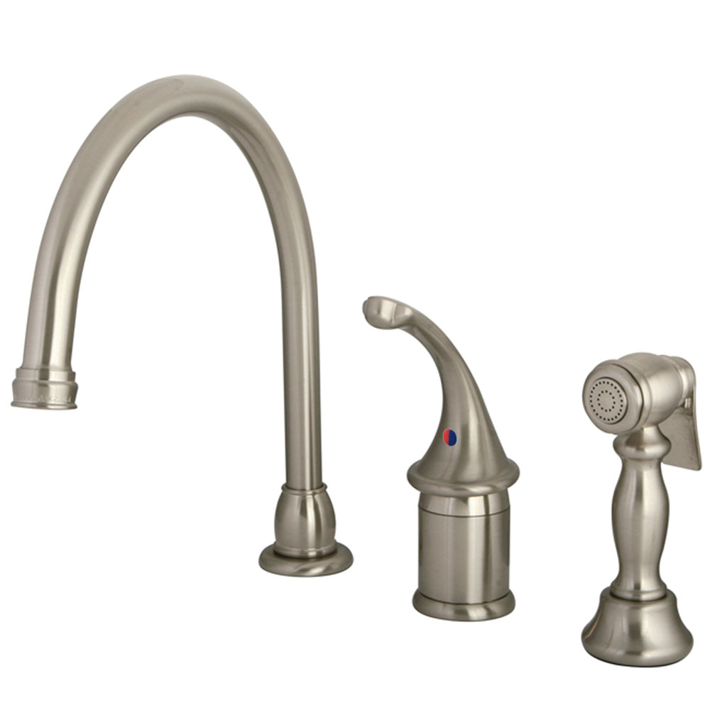 kingston brass kb3818glbs georgian kitchen faucet with brass sprayer brushed nickel kingston. Black Bedroom Furniture Sets. Home Design Ideas