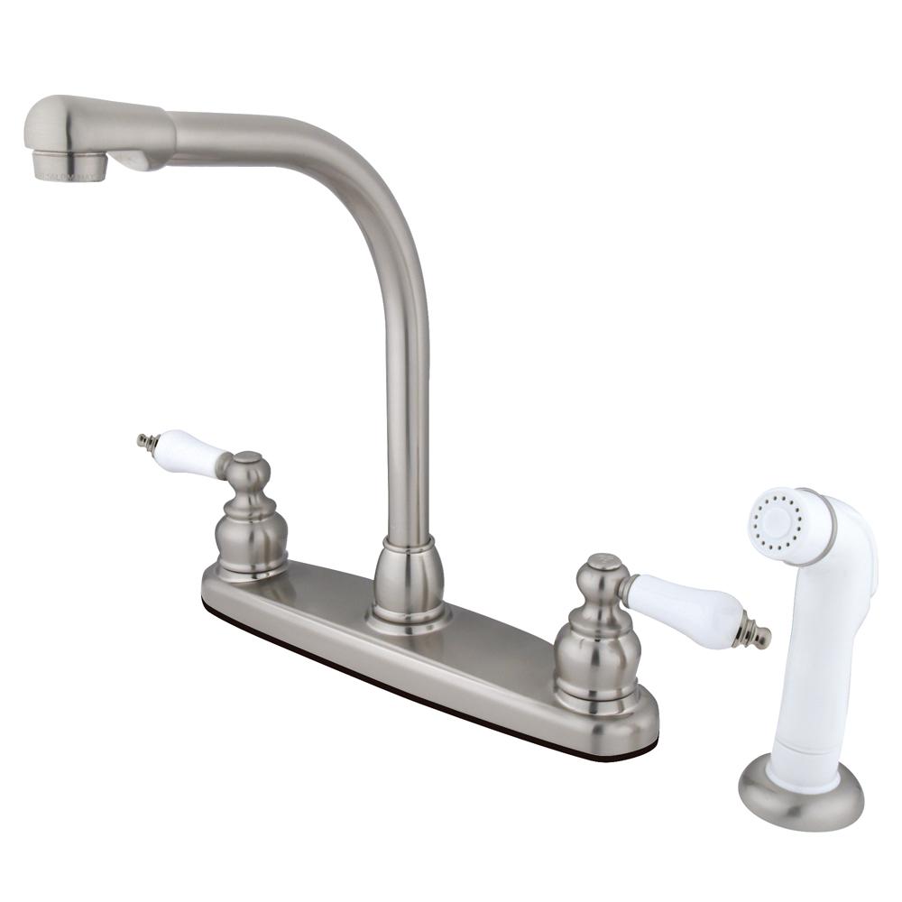 Kingston Brass Kb718 Victorian High Arch Kitchen Faucet With White Sprayer Satin Nickel