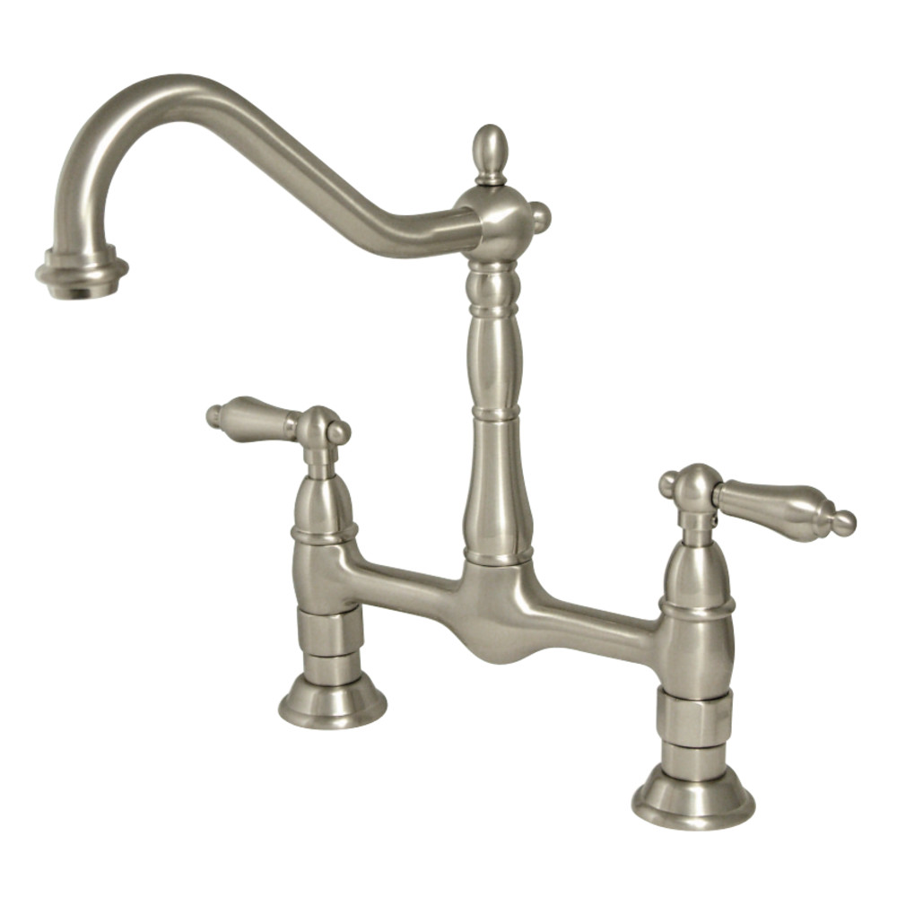 Kingston Brass KS1178AL Heritage Kitchen Bridge Faucet, Brushed ...
