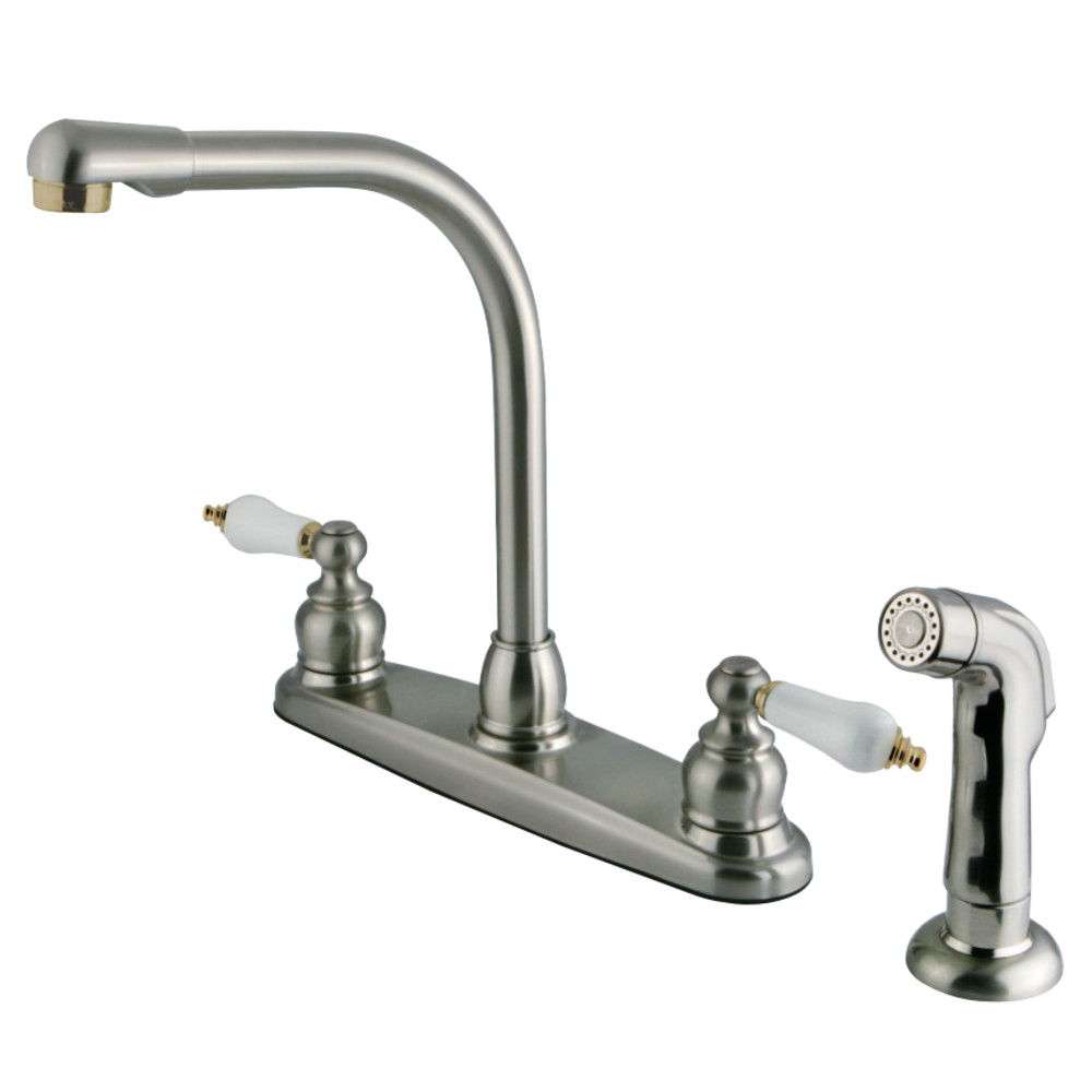 Kingston Brass Gkb719sp Water Saving Victorian High Arch Kitchen Faucet With Oak Porcelain
