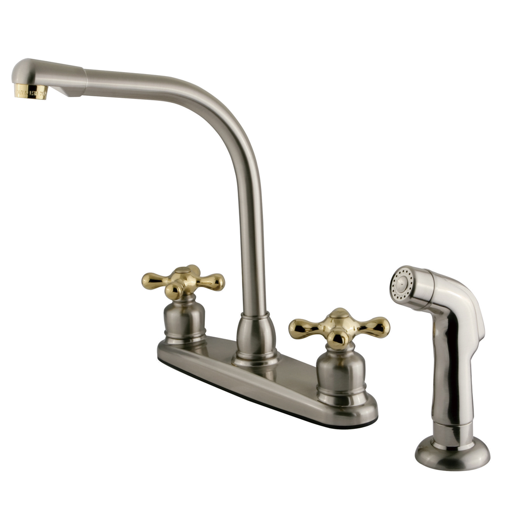 Kingston Brass KB719AXSP Victorian High Arch Kitchen Faucet with ...