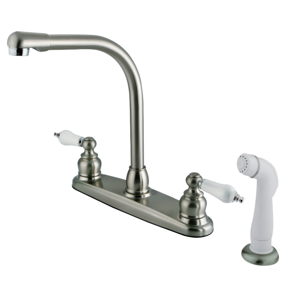 Kingston Brass Gkb717 Water Saving Victorian High Arch Kitchen Faucet With Oak Porcelain Lever