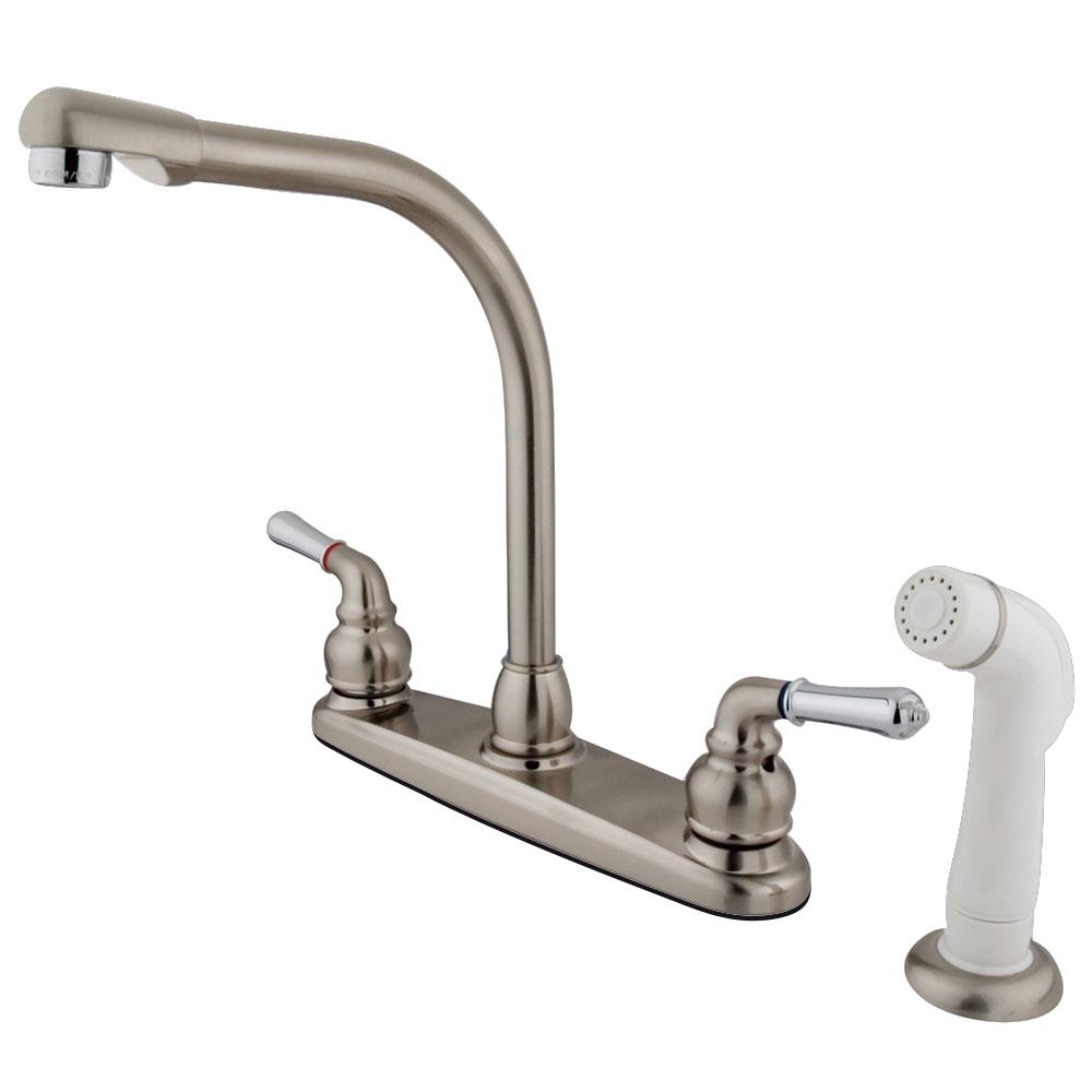 Kingston brass gkb757 water saving magellan centerset for Chrome or brushed nickel kitchen faucet