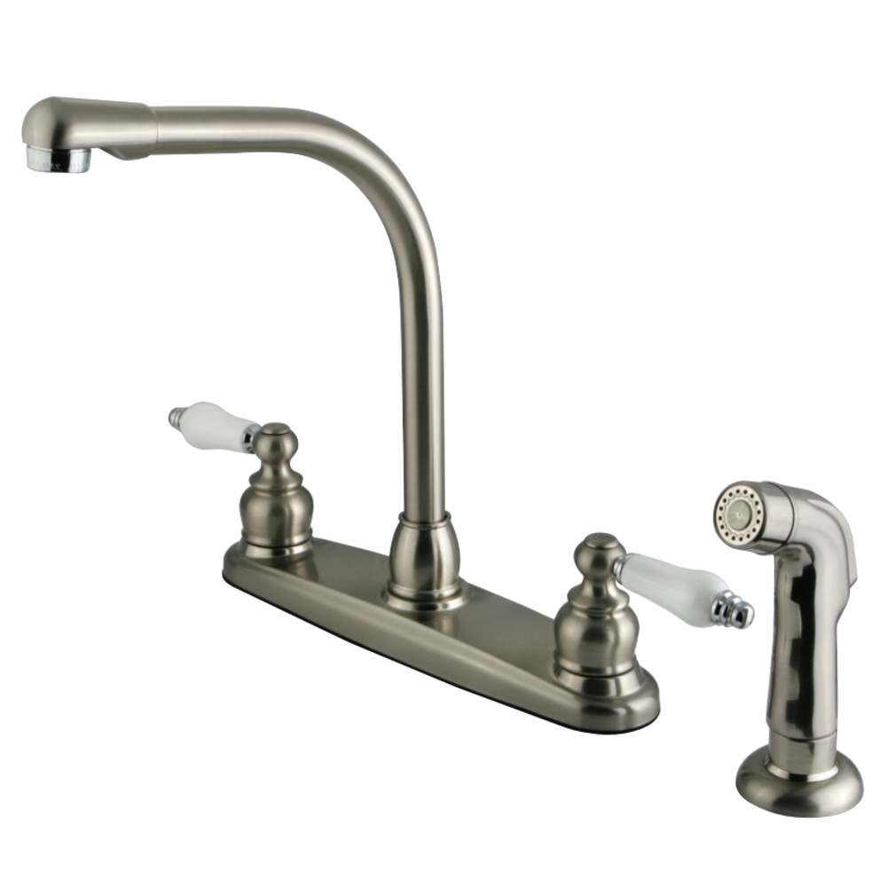 Kingston brass kb717sp victorian high arch kitchen faucet for Chrome or brushed nickel kitchen faucet
