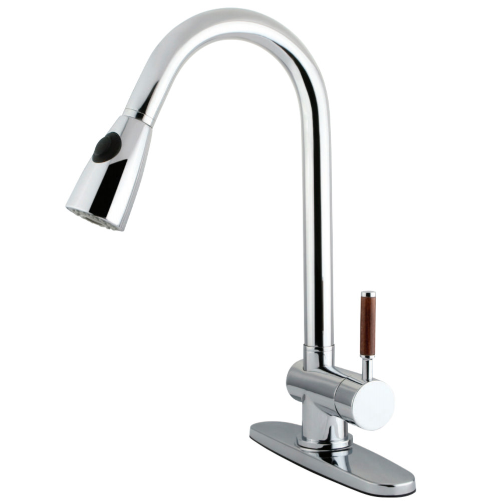 Kingston Brass Kitchen Faucet With Pull Down Sprayer Polished Chrome