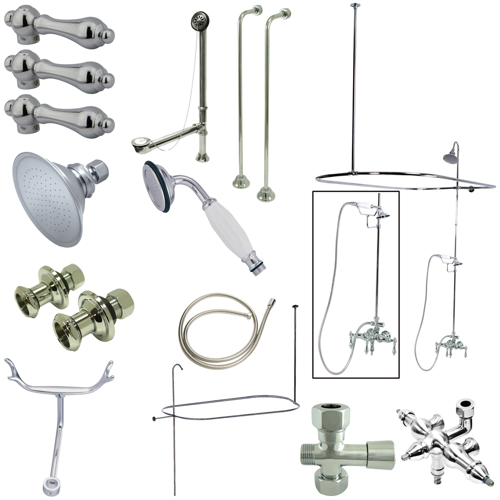 clawfoot tub and shower package. Lightbox Vintage Wall Mount Down Spout Clawfoot Tub And Shower Package With