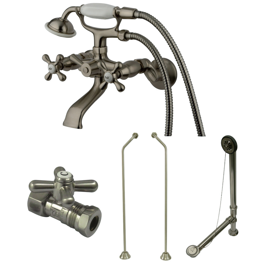 Vintage Wall Mount Clawfoot Tub Faucet Package with Offset Supply ...
