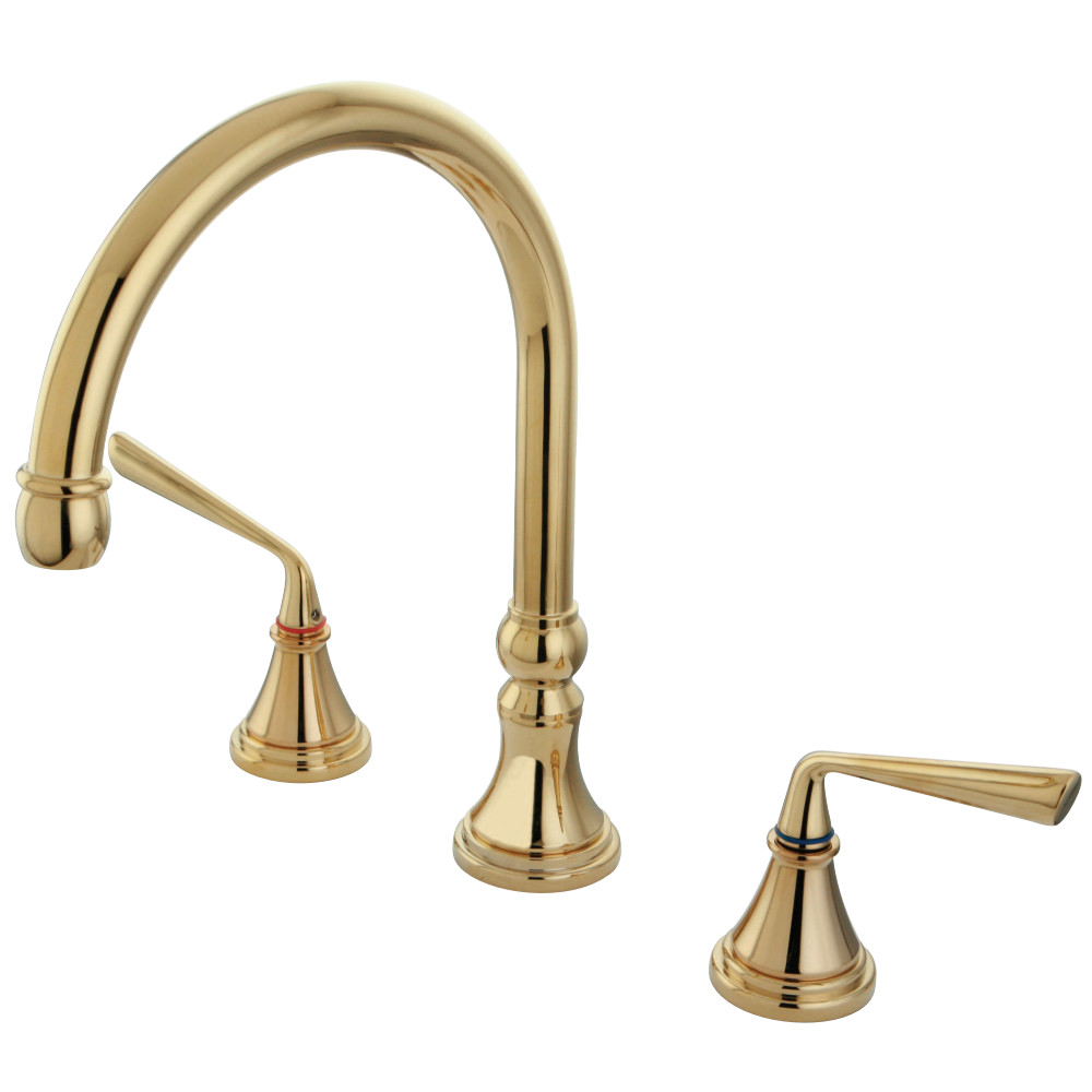 Kingston Brass Ks2342zl Silver Sage Roman Tub Filler Faucet Polished Brass Kingston Brass