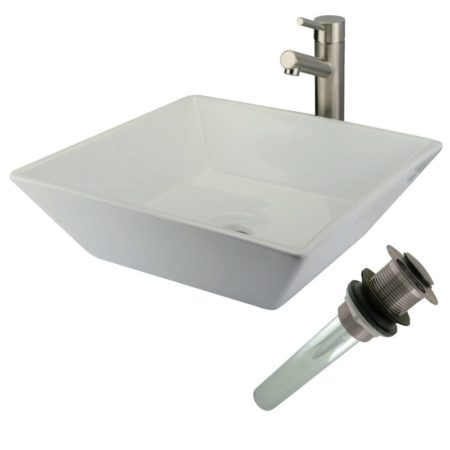 Kingston Brass EVKS4256SN EVKS4256SN square counter top vitreous china sink with single handle vessel sink faucet combo kit