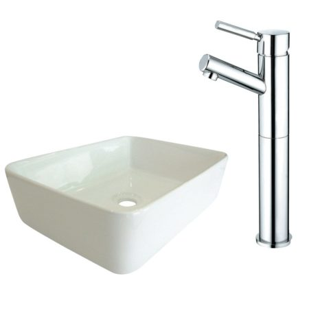 Kingston Brass EV5102KS8411DL Fauceture French Petite Vessel Sink & faucet Combo, Polished Chrome