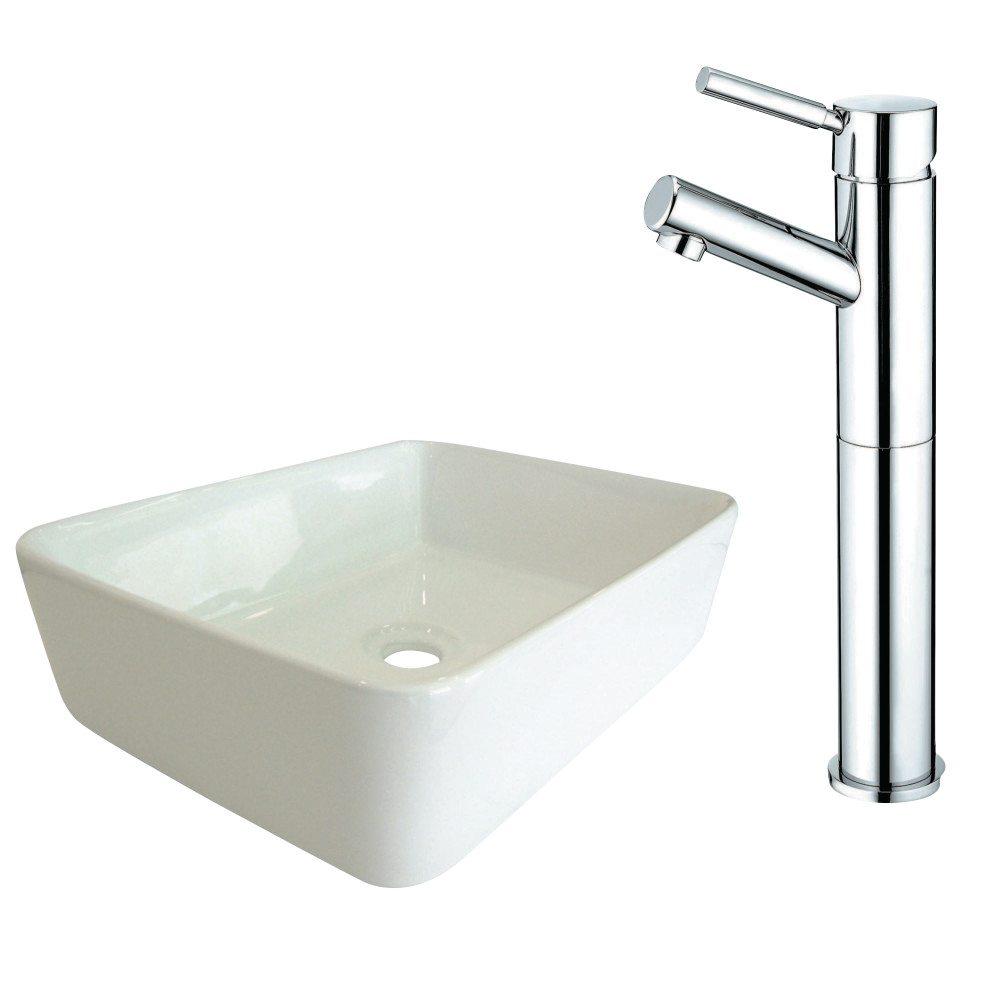 kingston brass ev5102ks8411dl vessel sink and faucet combo white kingston brass. Black Bedroom Furniture Sets. Home Design Ideas