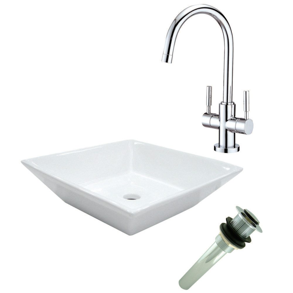 Kingston Brass Ev4256s8291 Vessel Sink With Sink Faucet And Drain Combo White Chrome Kingston