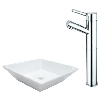 Kingston Brass EV4256KS8411DL Kingston Brass EV4256KS8411DL Vessel Sink And Faucet Combo, White