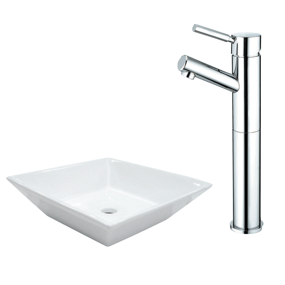 Kingston Brass EV4256KS8411DL Vessel Sink And Faucet Combo, White ...