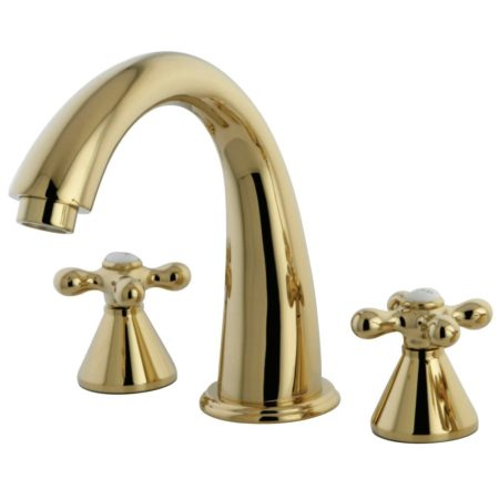 Kingston Brass KS2362AX NAPLES ROMAN TUB FILLER Polished Brass, METAL CROSS HANDLE