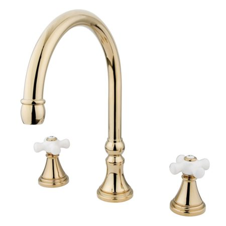 Kingston Brass KS2342PX ROMAN TUB FILLER with PX handle, Polished Brass