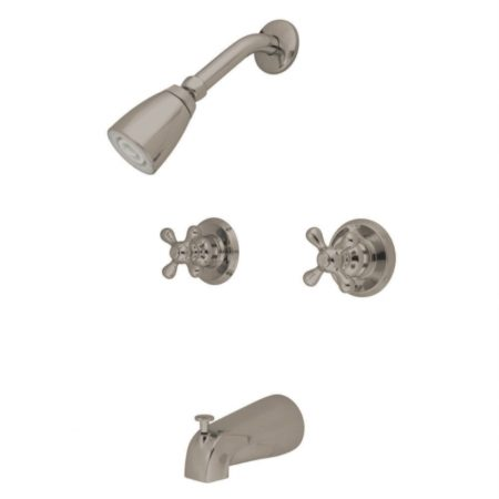 Kingston Brass KB248AX Twin Handle Tub & Shower Faucet with Decor and AX Handle