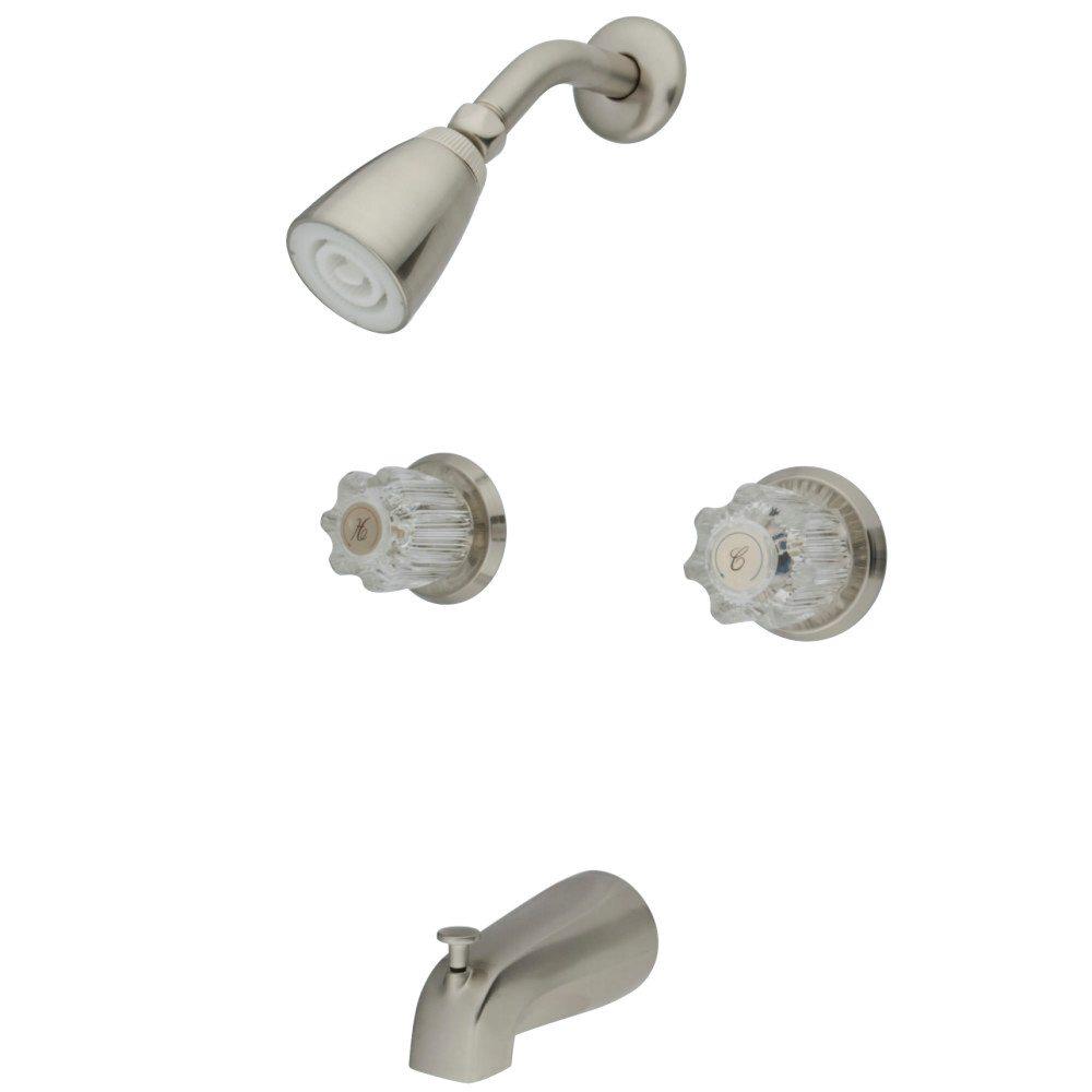 Kingston Brass KB148 Americana 2 Acrylic Handle Tub & Shower Faucet ...