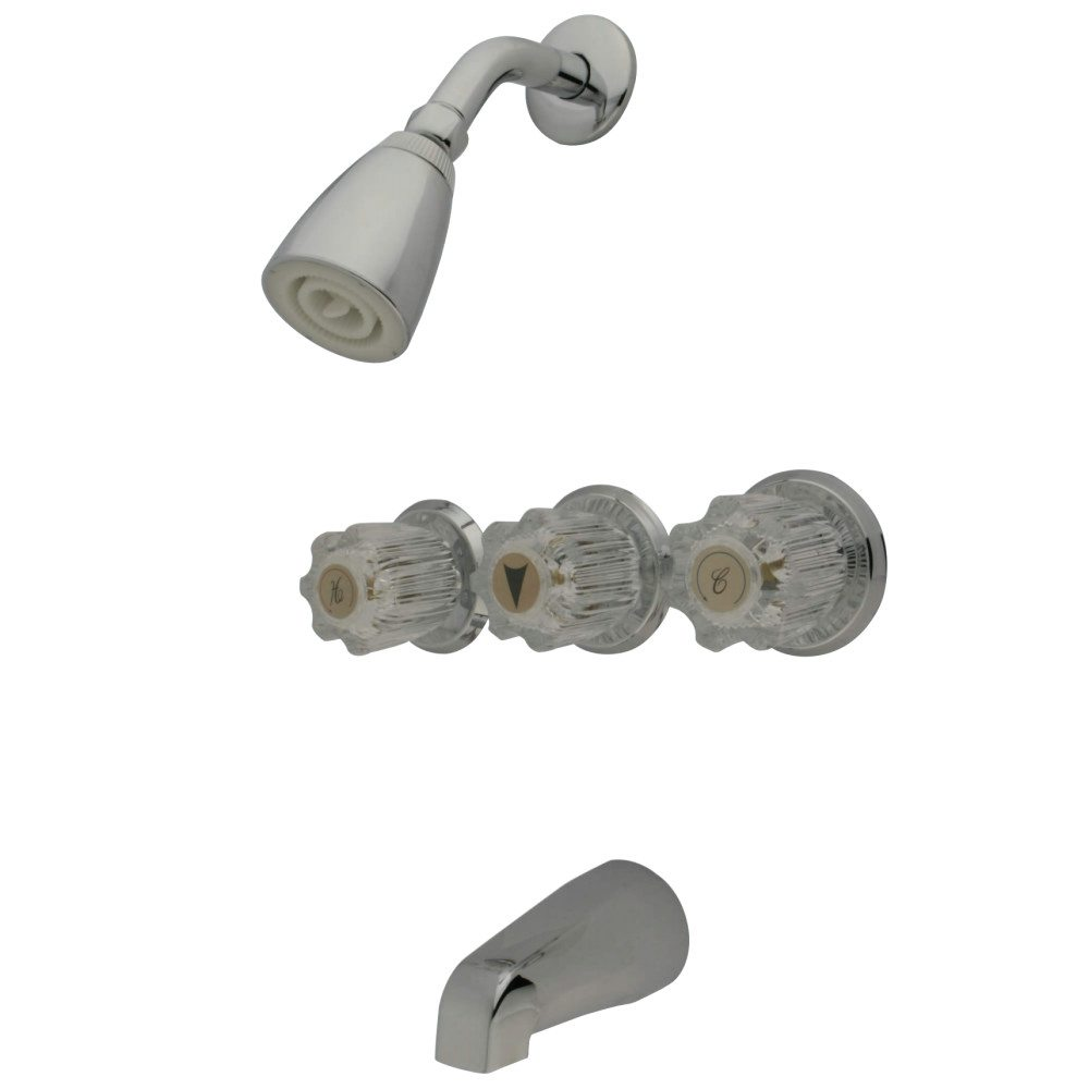 Kingston Brass KB131 3 Acrylic Handle Tub & Shower Faucet, Polished ...