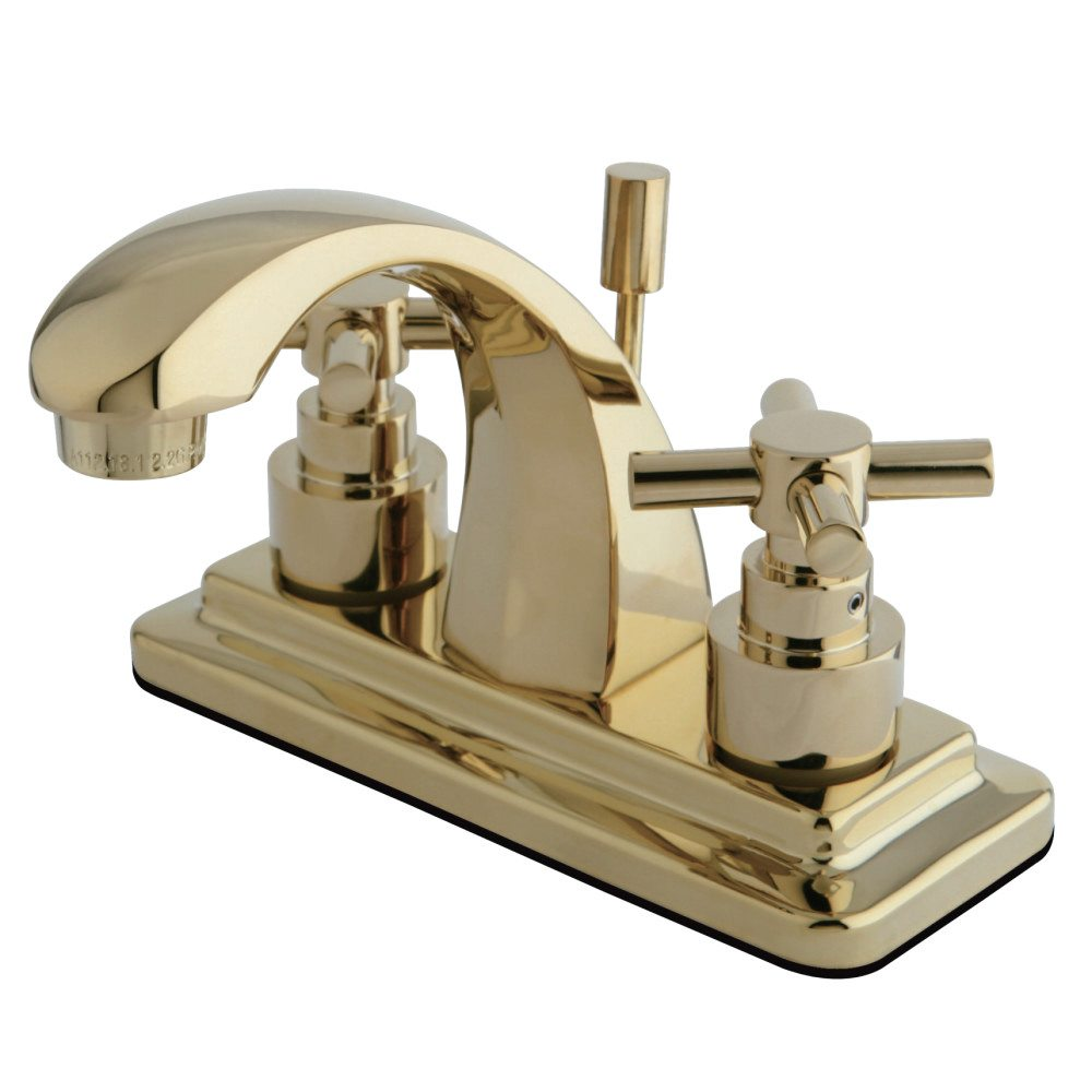 Kingston Brass Ks4642ex Elinvar Twin Cross Handle 4 Lavatory Faucet Polished Brass Kingston