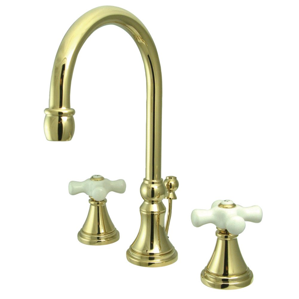 Kingston Brass Ks2982px Governor Widespread Lavatory Faucet With Brass Pop Up Polished Brass