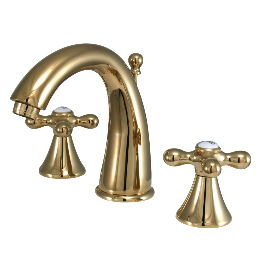 Kingston Brass Ks2972ax Naples Widespread Lavatory Faucet With Metal Cross Handle Polished