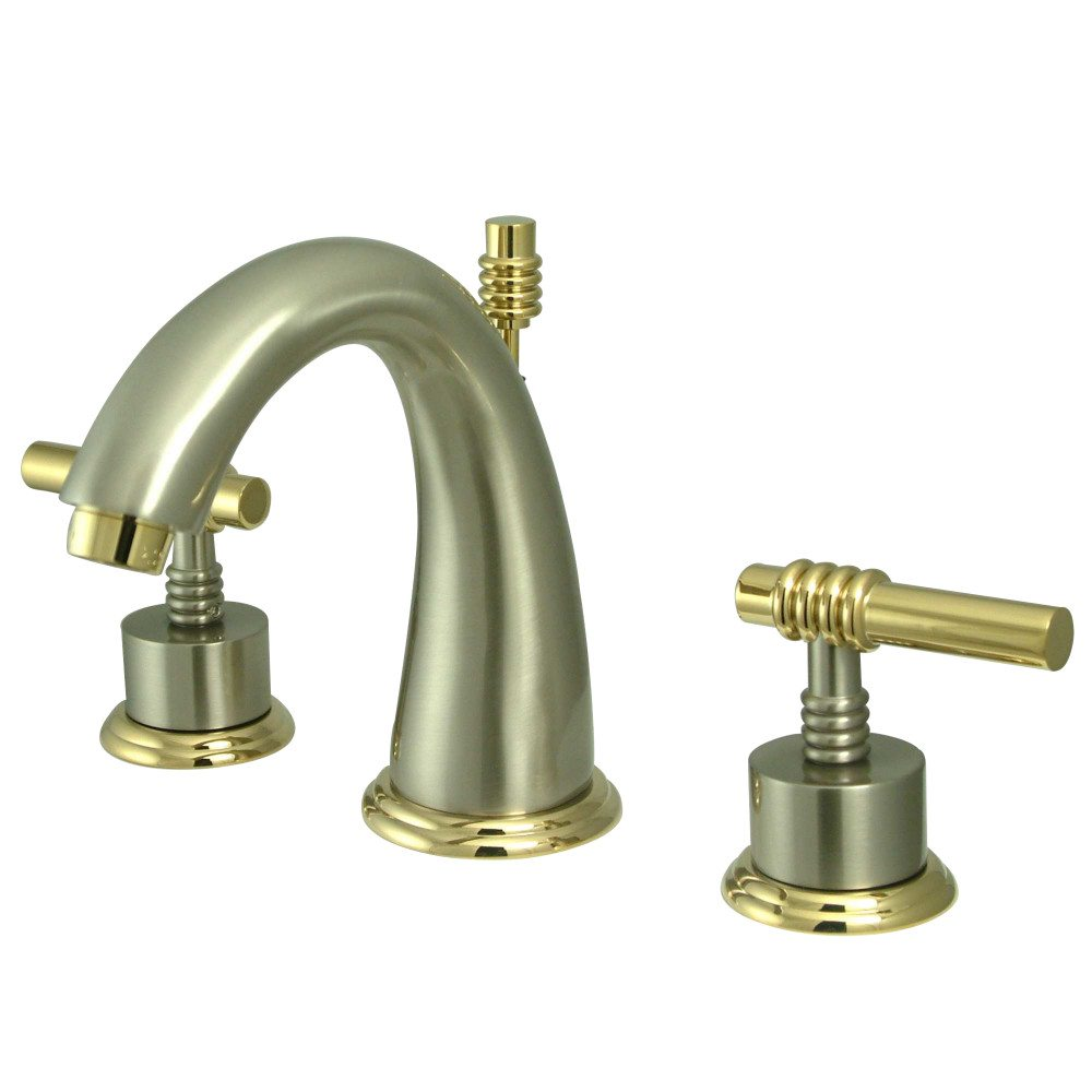 Kingston Brass Ks2969ml Milano Widespread Lavatory Faucet Metal Lever Handle Brushed Nickel
