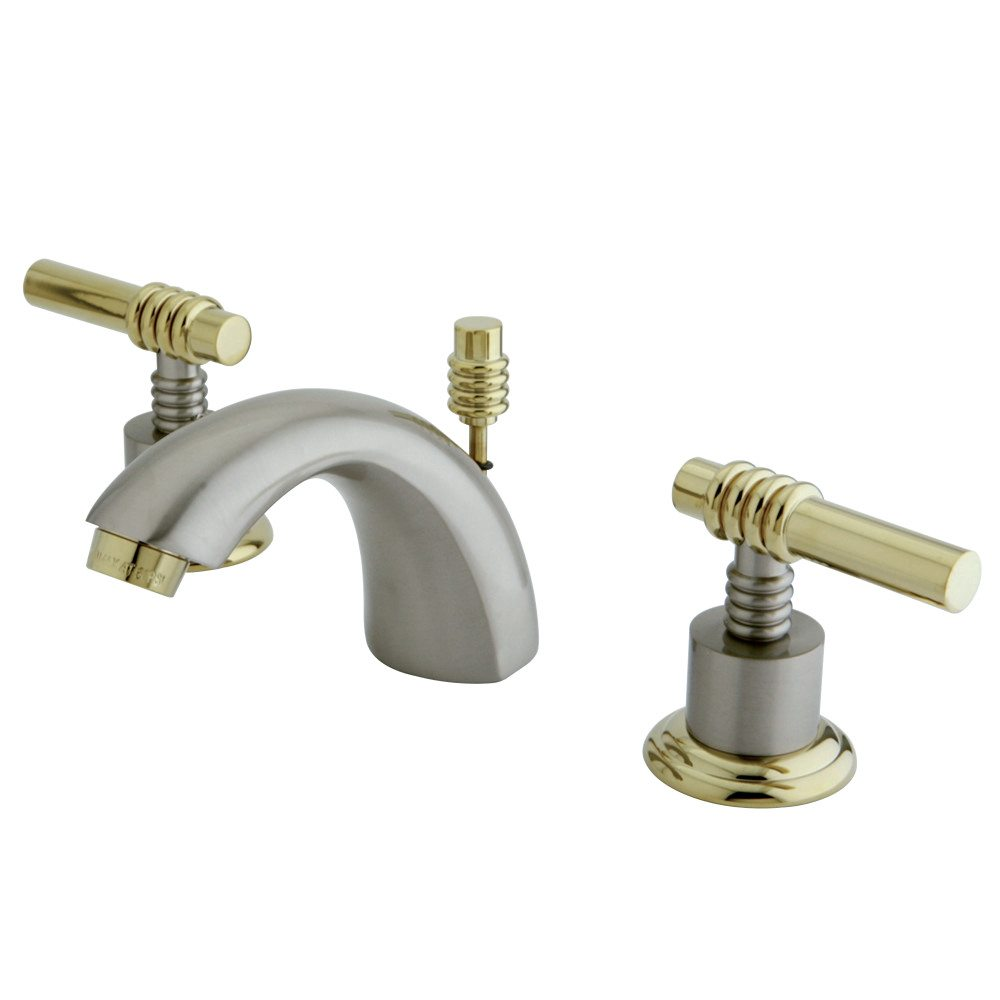 Kingston Brass Ks2959ml Mini Widespread Lavatory Faucet With Ml Handle Brushed Nickel Polished