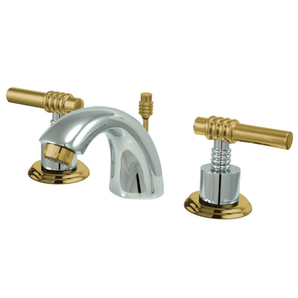 Kingston Brass Ks2954ml Mini Widespread Lavatory Faucet With Handle Chrome Polished Brass