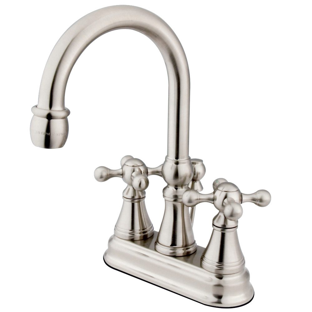 Kingston Brass Ks2618kx Governor 4 Centerset Lavatory Faucet With Brass Pop Up Satin Nickel