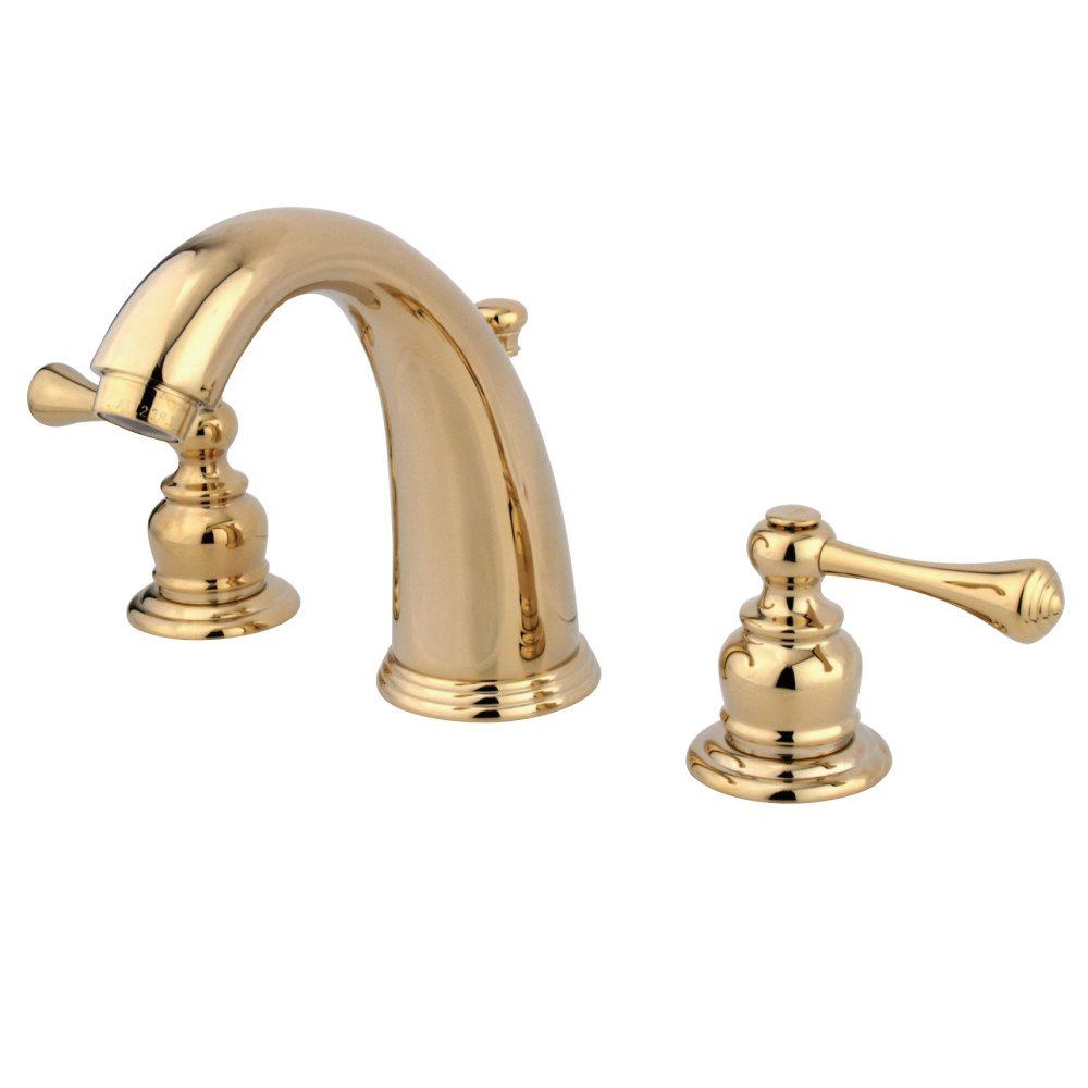 Kingston Brass Kb982bl High Rise Spout 8 Inch Widespread Lavatory Faucet Polished Brass
