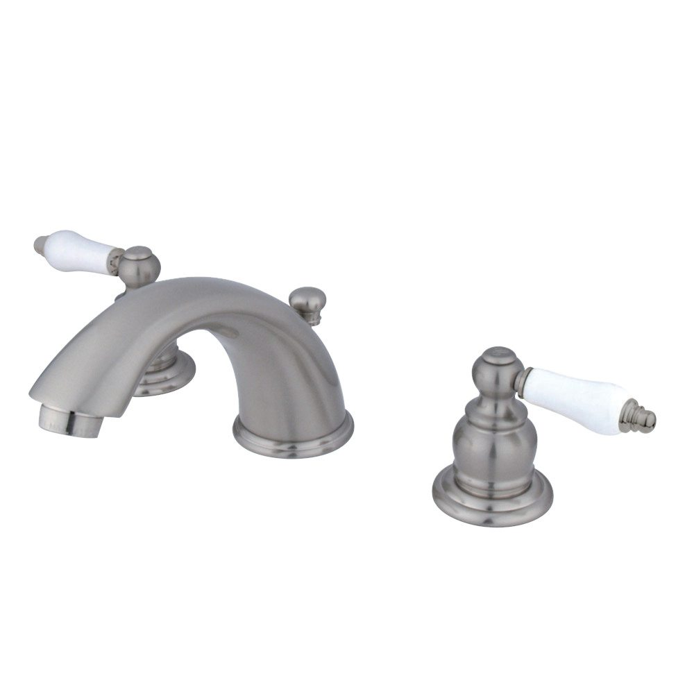 Kingston brass kb968pl magellan widespread lavatory faucet brushed nickel kingston brass for Brushed brass bathroom fixtures