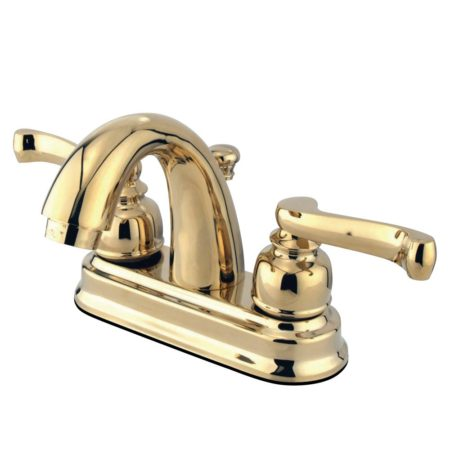 "Kingston Brass KB5612FL 4"" CENTERSET bathroom Faucet with HIGH RISE SPOUT, Polished Brass"
