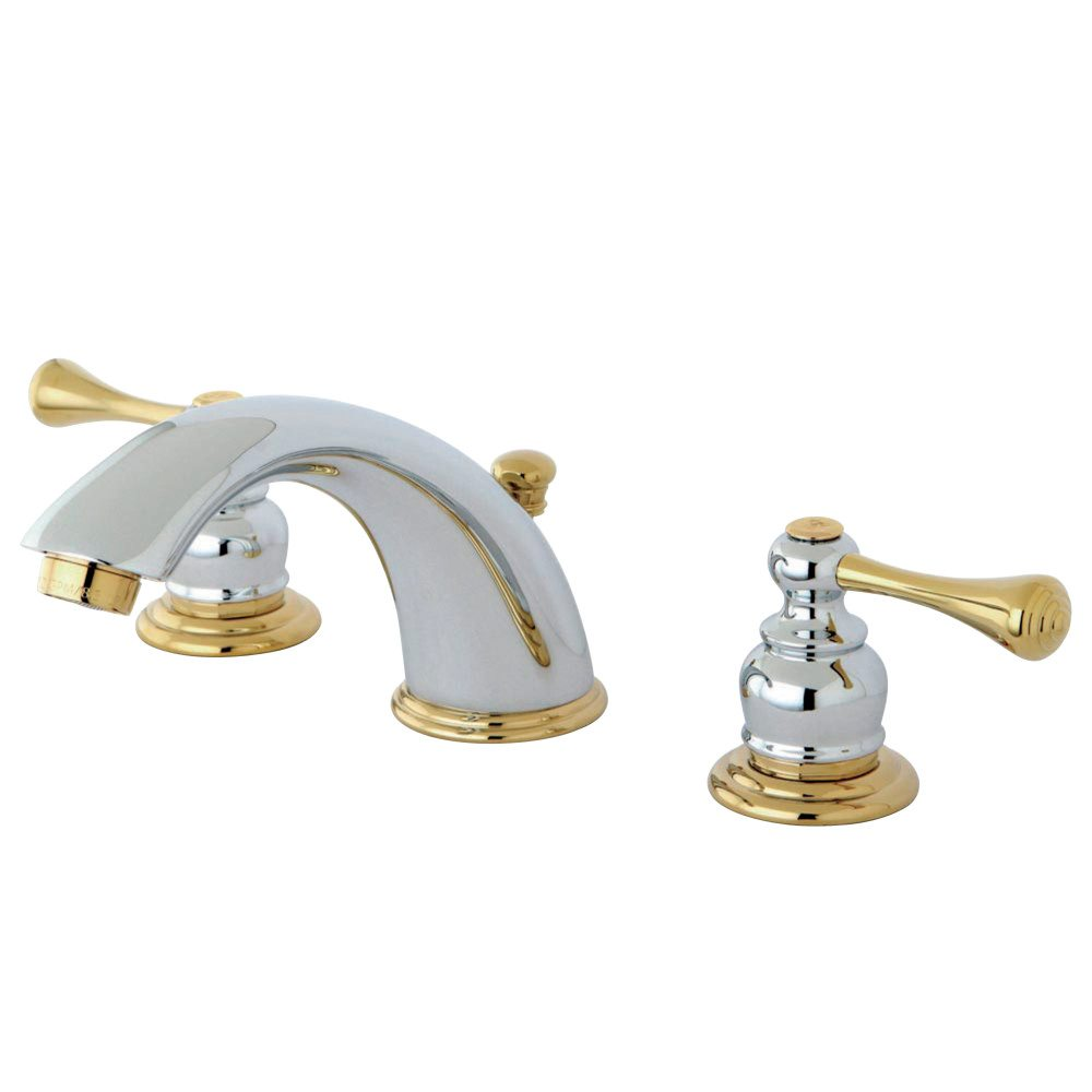 Kingston brass kb3974bl 8 inch widespread lavatory faucet for Bathroom 8 inch faucets